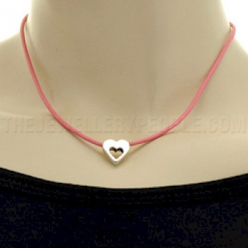 Little Silver Heart & Pink Leather Necklace