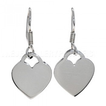 Lock Heart Silver Earrings - 13mm Wide