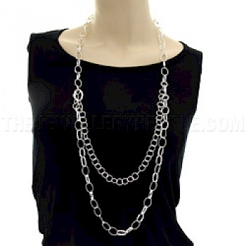 "Long Triple Ovals Silver Necklace - 40"" long"