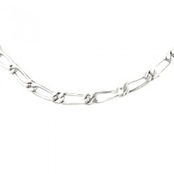 Men's Silver Figaro Chain Necklace - 5mm Solid