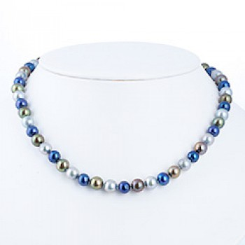 "Mixed Blue Silver Pearl Necklace - 8mm wide - 18"" long"