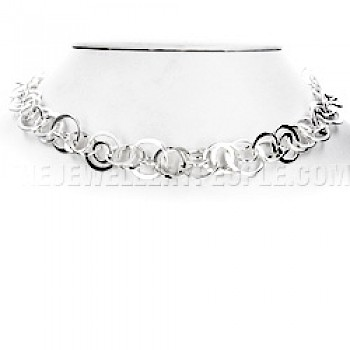 Mixed Circles Silver Necklace - 18""