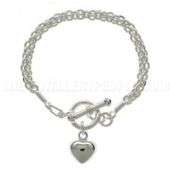 Polished Silver Rope Bracelet with Heart Charm