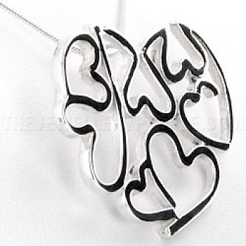 Multi Cut Out Heart Silver Pendant