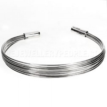 Multi Strand Open Silver Bangle - 6mm Wide