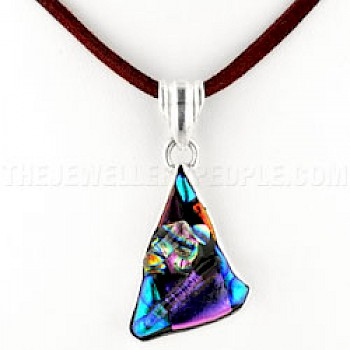 Multicolour 3D Dichroic Glass & Silver Shape Pendant