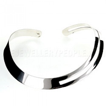 Offset Cut Out Silver Collar - 12mm Wide