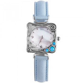 Opal Square Silver Watch