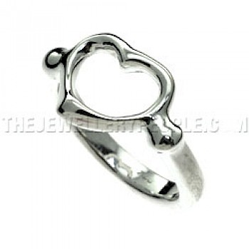 Open Heart Set Silver Ring