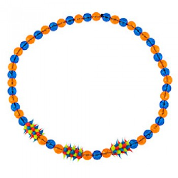 Orange & Blue Rubber Spike Bead Necklace