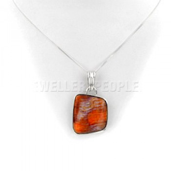 Orange Spiny Oyster & Silver Pendant