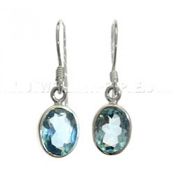 Oval Blue Faceted Topaz & Silver Earrings - 5mm