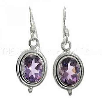 Oval Faceted Amethyst & Silver Set Earrings