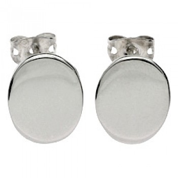 Oval Silver Stud Earrings - 12mm