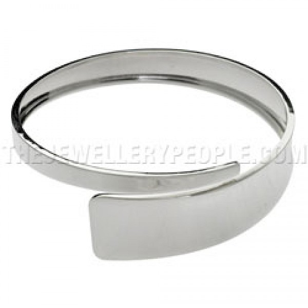 Over-Lapping Polished Silver Bangle