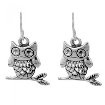 Owl Silver Drop Earrings - 35mm Long