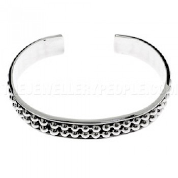 Oxidised Half Ball Silver Bangle - 12mm Wide