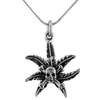 Oxidised Marijuana Leaf Pendant With Skull