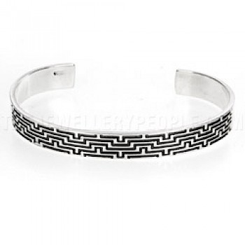 Oxidised Maze Open Silver Bangle - 9mm Wide