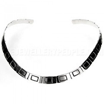 Oxidised Rectangles Silver Collar - 8mm Wide