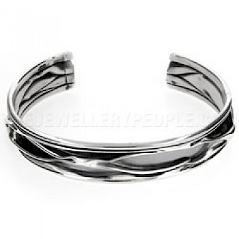 Oxidised Ripple Silver Bangle - 13mm Wide
