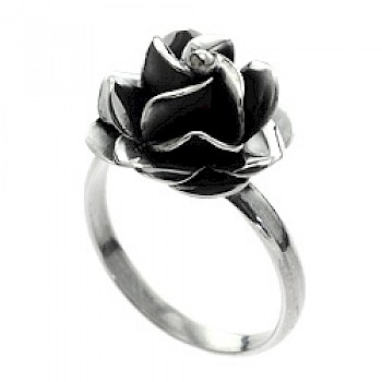 Rose Oxidised Silver Ring