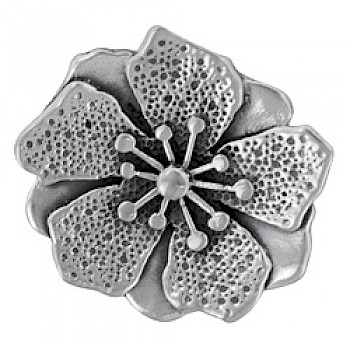 Oxidised Silver Flower Pendant