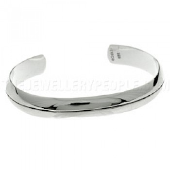 Oxidised Stripe Curved Silver Bangle - 10mm Wide