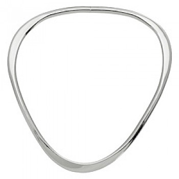 Part Flattened Triangular Silver Bangle - 4.5mm Solid