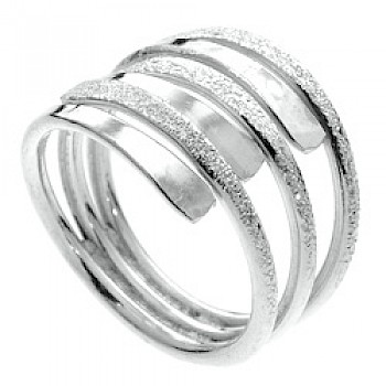 Part Glitter Fancy Silver Ring - 6 Bands