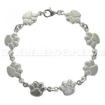 Paws Silver Bracelet - 14mm Wide