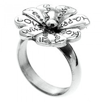 Peace & Love Flower Silver Ring