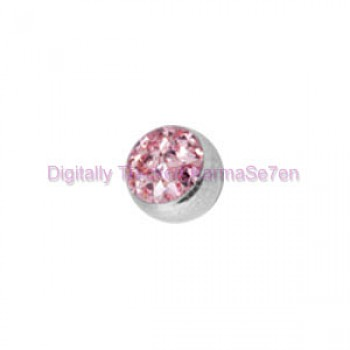 Pink Crystal Cluster Threaded Ball