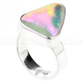 Pink Dichroic Glow-Glass & Silver Off-Shapes Ring