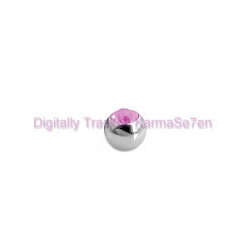 Pink Jewelled Surgical Steel Threaded Micro Ball (1.2mm x 3mm)