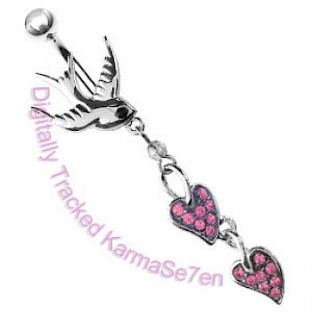 Pink Swallow Dangle Belly Bar