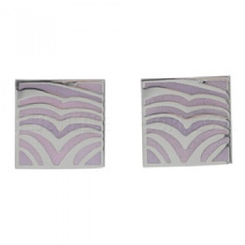 Pink Waves Silver Stud Earrings - 16mm Wide