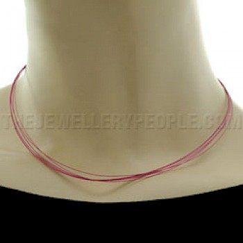 Pink Wax Cord Necklace - Strands