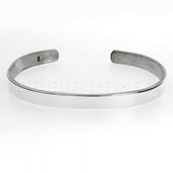 Plain Open Unisex Silver Bangle - Medium to Large