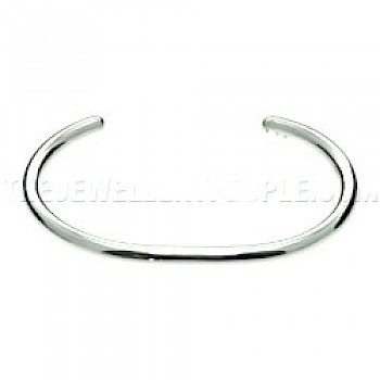 Plain Silver Bangle - 4mm Wide