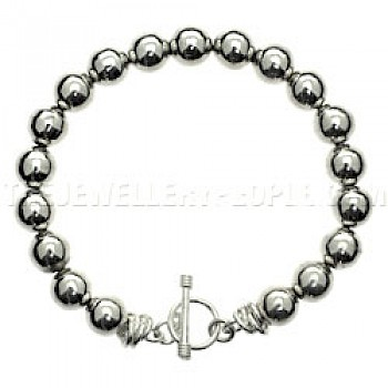 Silver Ball Bracelet - 9mm Wide