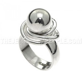 Polished Beads & Hoops Silver Ring