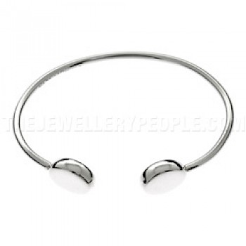 Polished Oval Silver Bangle