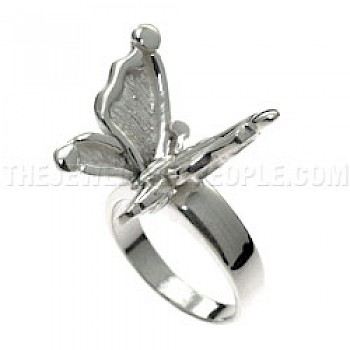 Polished Butterfly Silver Ring