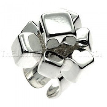 Polished Chunky Cubes Silver Ring