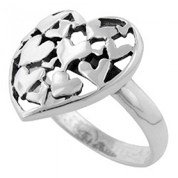 Polished Clustered Silver Heart Ring