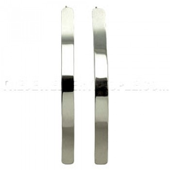 Polished Curve Silver Earrings - 85mm Long