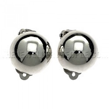Dome Silver Stud Earrings - 18mm