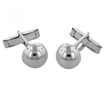 Polished Domed Silver Cufflinks