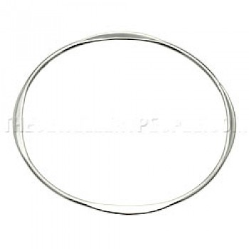 Polished Flattened-edged Silver Bangle-Round - 3mm Solid